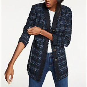 Ann Taylor Blue Metallic Weave Tweed Blazer Jacket